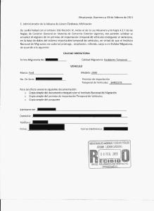 Michoacan Aduana Letter
