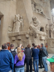 people still stand in lines ...    unaware of some of the world's finest 3-D dramas  pass by  (overhead).